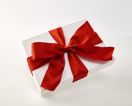 Christmas and New Year's Day, Open red gift box white background Gift ideas, important person 免版税图像