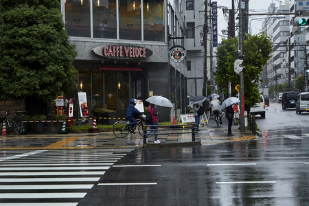 TOKYO JAPAN, Sep 21 ,2018, people holding umbrella Crossing in rainy day. The rain in affected by powerful