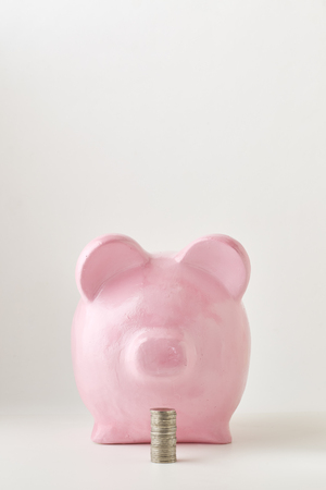 Pink piggy bank on white background. Finance, saving money, In the natural state Imagens