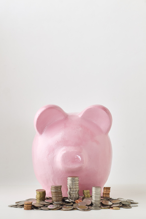 Pink piggy bank on white background. Finance, saving money, In the natural state