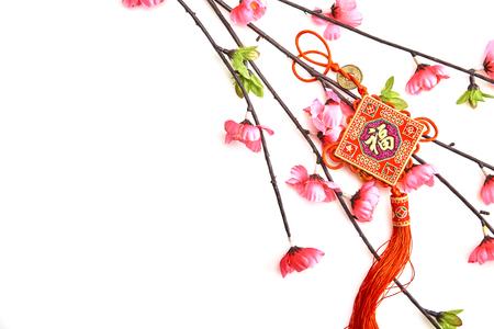 Branche de cerisier rose prune avec noeud porte-bonheur chinois sur fond blanc Décorations du Nouvel An chinois (traduction en anglais pour texte étranger signifie bénédiction)