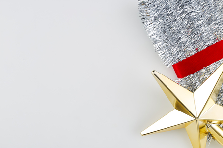 New Year 2019, Christmas Gold Star Silver Tinsel Decoration On White Background, For Empty space for design
