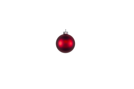 Minimal red Christmas bauble isolated on a white background. Clipping path. Flat lay. holiday concept.