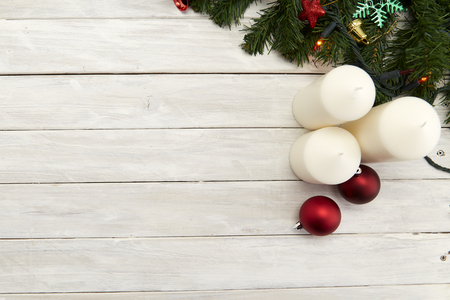 flat lay christmas concepts on wood backgrounds. Copy space  Place for your text