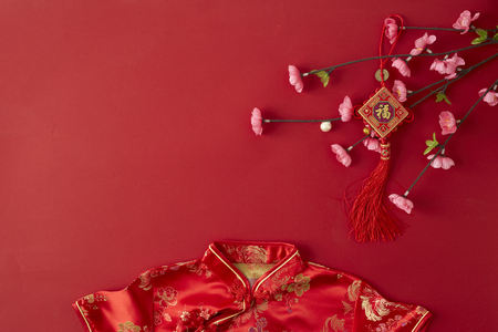 Decorating Design Chinese new year 2019 red backgroung. with blessing text mean happy ,healthy and wealth. mean best wishes and good luck for the coming chinese new year. flat lay