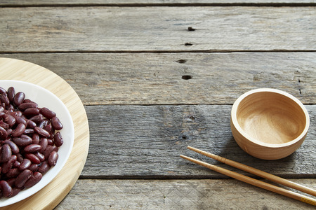 Canned Red Kidney Beans In White Bowl On Wooden background - Photography Food Image Stock Photo