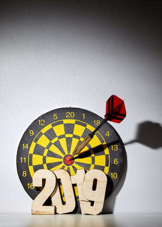 New year 2019 Dart board hanging with red dart hit at target on on gray wall background, Business and technology goals