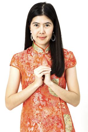 Joyeux nouvel an chinois 2019 Portrait de femme asiatique pas de fond blanc