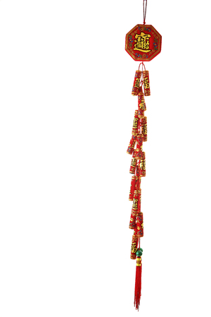 Chinese Red firecrackers with Fu (happy) character on white background Archivio Fotografico