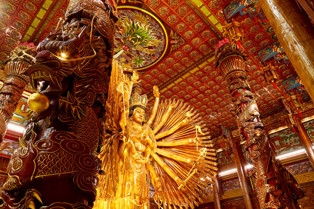 Lunar New Year2019 ,Chinese God statue Guanyin in Chinese temple Editorial