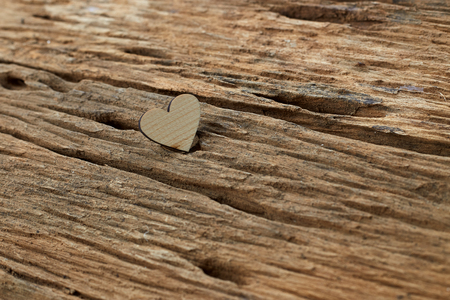 Heart on a wooden board. Valentine's Day greeting card. , Empty copy space Stock Photo
