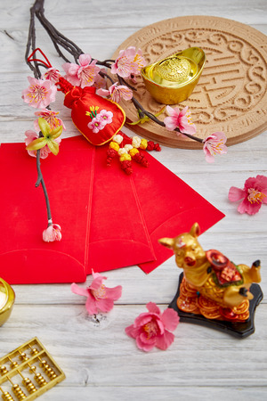 2019 Chinese new year or lunar new year decoration on white wooden background. Text space images. with character FU mean good luck ,fortune and blessing. Stockfoto