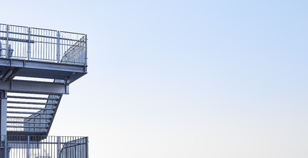 Abstract view of modern building with stairs, Blue factory structure Imagens - 118558418