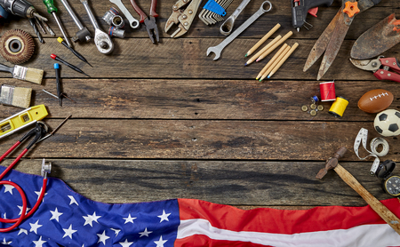 Job Set Tools Group Different Job On Rustic Wooden Table With Copy Space For Labor Day, American Flag,