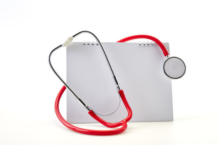 Flat 7 April Red stethoscope with Empty calendar on white background. Copy space. Healthcare. World Health Day