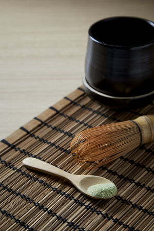 Japanese food organic matcha green tea on wooden table background, top view, copy space