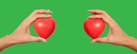 Hands holding red heart shaped for World Health Day or valentines day, on white background Imagens - 121133603
