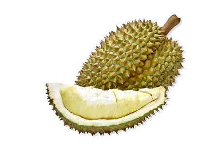 Close-Up Of Durian Fruit White Background, King Of Fruit In Thailand