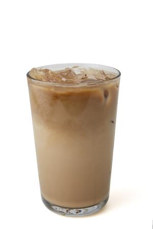 Glass of cold coffee on white 版權商用圖片