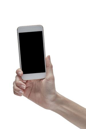 Female hand holding using smart phone white