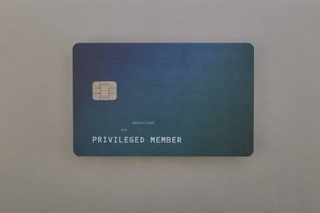 Highly detailed mock up  Green credit card on grey background