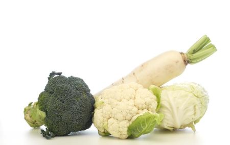 Fresh vegetable, Cabbage, Broccoli, cauliflower, radish  isolated on white