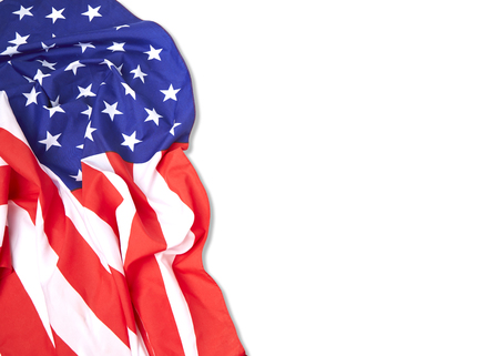 Independence day American flag border on plain white background