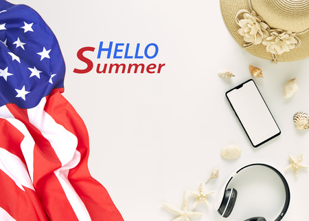 Straw hats, music headphones, sunglasses, shells on white background,  with empty space for text.  Independence day usa Travel concept. text hello summer Imagens