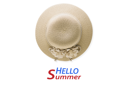 Summer holiday background, flat lay beach womens accessories: straw hat on white background with empty space for text.  text hello summer