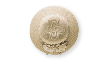 Summer holiday background, flat lay beach womens accessories: straw hat on white background with empty space for text. Travel  concept.