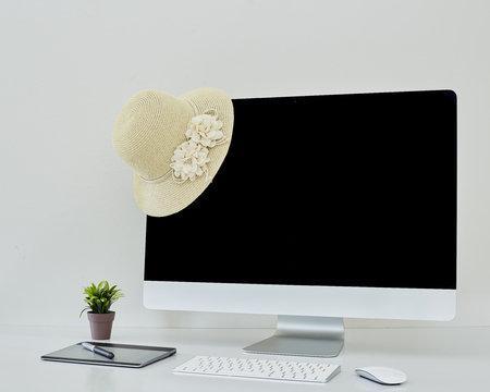 Desktop computer screen summer hat