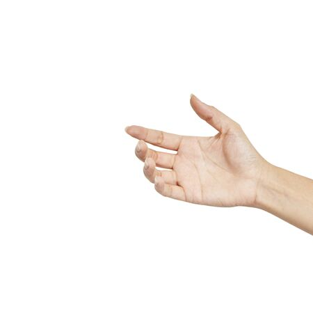 Close up Empty female woman hand holding something like isolated on white, clipping path.