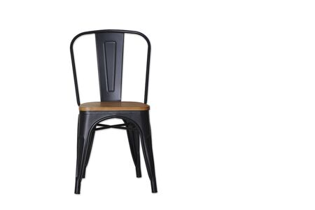 black steel chair clipping path on white whit textured background wall Copy space