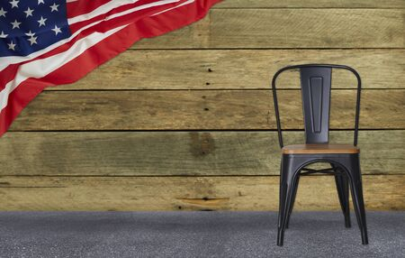 flag of the USA with black steel chair wall wood, American National Day Concept background