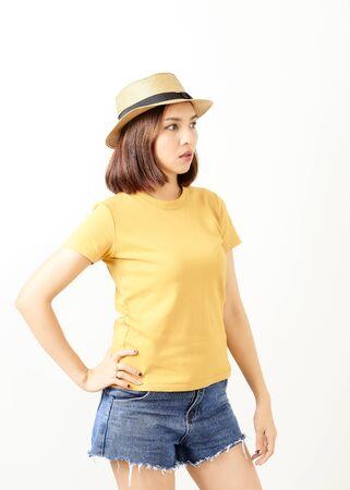 Beautiful Asisn Woman Wearing Hat Standing On White Background, 30-34 years