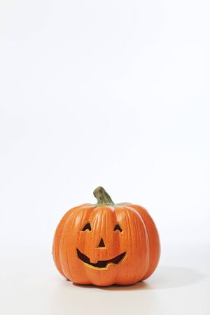Happy Jack O Lantern On White Background, copy space for text