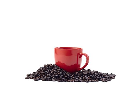 Red coffee cup with coffee beans isolated on white background