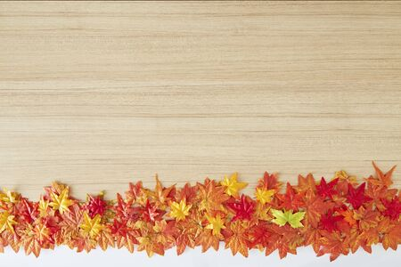 Top view maple leaves autumn leaves on wooden table vintage texture, copy space for text, flatlay
