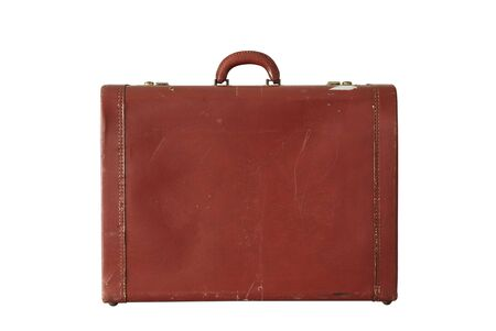 Close-up Old brown leather suitcase Vintage style isolated on a white background 版權商用圖片