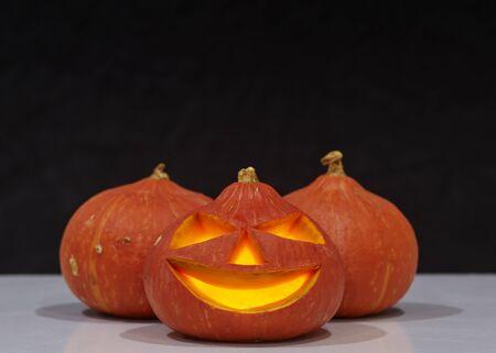 Halloween Pumpkin, funny Jack OLantern on black background