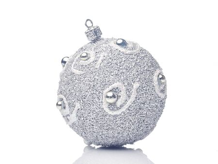 Silver Glitter christmas bauble Isolated on white background Stock Photo