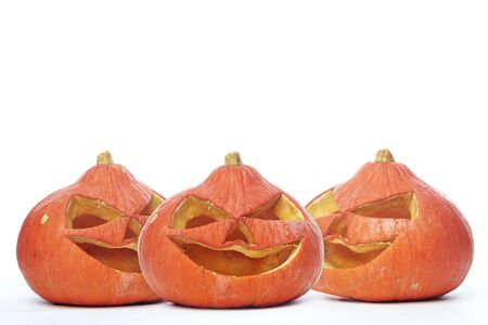 Halloween decoration symbols. Halloween three Pumpkins isolated on white background, copy space for text