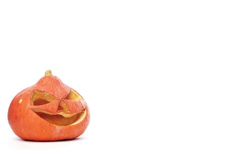 Halloween Pumpkin isolated on white background, copy space for text