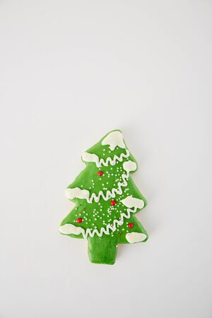 Pine Cookie on white  on white background, Christmas, winter, new year concept. Flat lay, top view, copy space