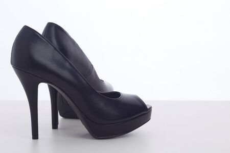 Womens Black High Heels Fashion Shoes on white background.