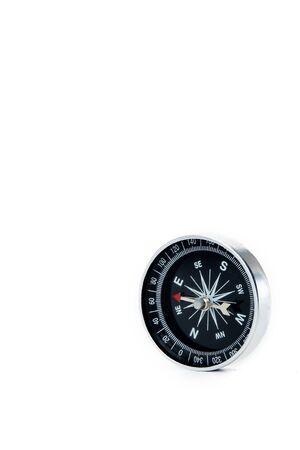 Zamknij się kompas na białym tle Koncepcje edukacyjne i biznesowe kopiują miejsce na tekst Zdjęcie Seryjne