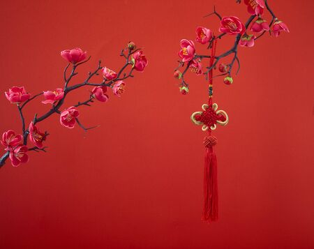 Decoration Red Sakura Tree Branches Traditional chinese knot. Chinese 2020 New Year Asian Lantern Flowers on red background. Place for your Text banner. Archivio Fotografico - 134344508