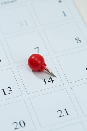 Calendar and red pushpin on 14 February. Valentine's day copy space for text Stockfoto - 134772964