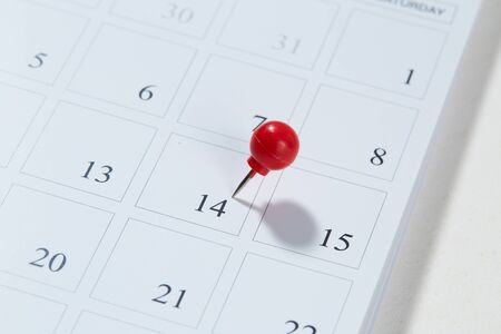 Calendar and red pushpin on 14 February. Valentine's day copy space for text Stockfoto - 134772977
