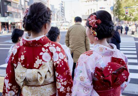 Women Wearing Kimono Costume (Japanese Traditional Wear) Walking Down the street in Tokoy Stok Fotoğraf